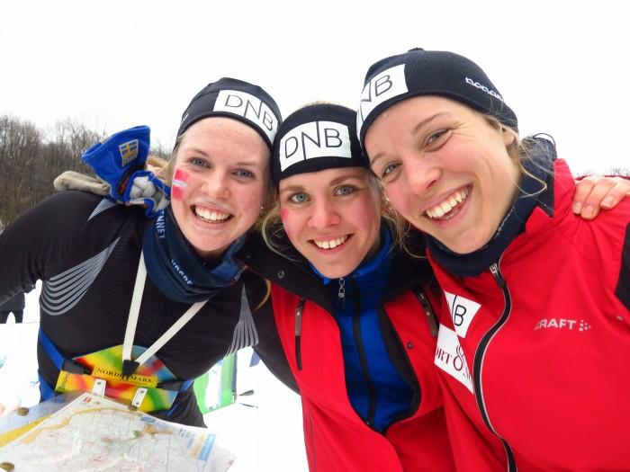 Overraskende sølvvinnere i EM. F.v. Andrine Benjaminsen, Christina Løvald Hellberg og Audhild Bakken Rognstad