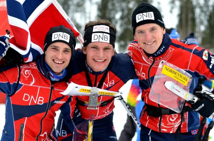EM-gull! F.v. Ove Sætra, Hans Jørgen Kvåle og Lars Hol Moholdt