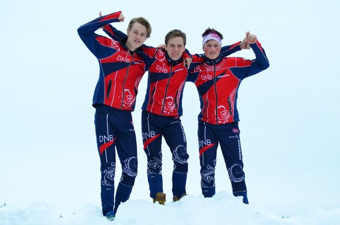 Junior-VM-bronse. F.v. Jørgen Madslien, Dag Lofthus og Jonas M. Bakken