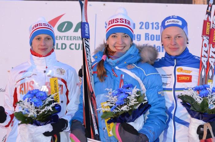 Damepallen bestod av f.v. Yuliya Tarasenko (2.), Tatyana Rvacheva (1.) og Sonja Mörsky (3.).