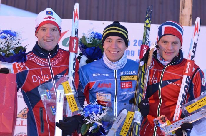 En god norsk herre-dag i Finland. F.v. Lars Hol Moholdt (2.), Andrey Lamov (1.) og Hans Jørgen Kvåle (3.)