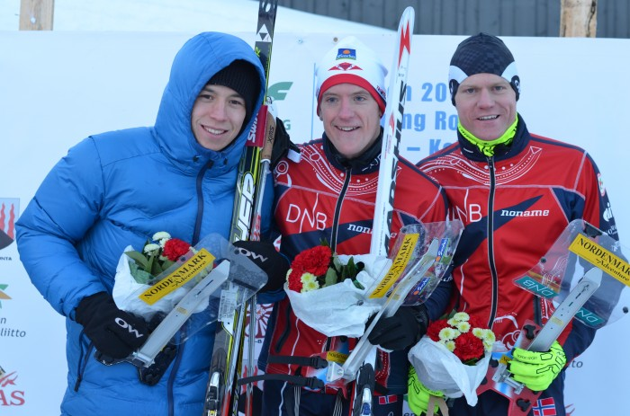 F.v. Andrey Lamov (2.), Lars Hol Moholdt (1.) og Øyvind Watterdal (3.) var de beste herrene i verdenscupsprinten.